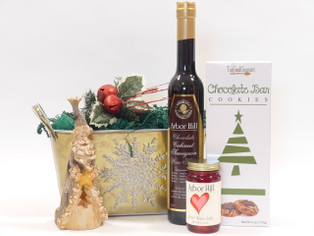 Christmas Delight Holiday Gift Basket features a chocolate Cabernet Sauvignon wine sauce to die for!