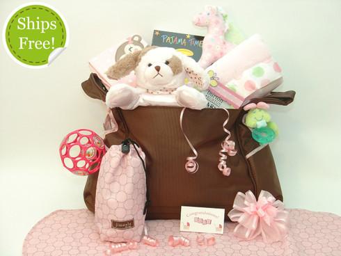 Polka Dot Precious Baby Girl Diaper Bag Gift qualifies for free shipping!