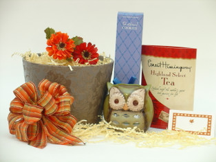 Autumn Holiday Gift of Thanks features ceramic owl tea light holder