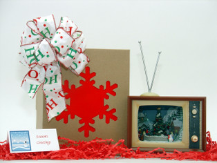 Retro TV Music Box with LED Lit Christmas Village hand wrapped with decorative gift box