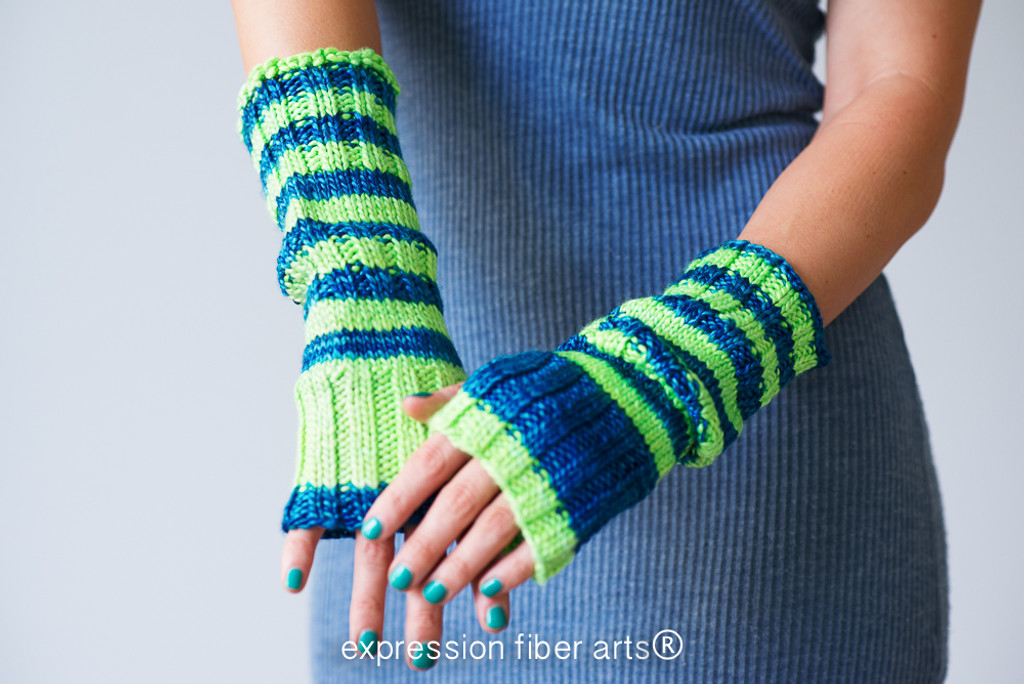 Knit Arm Warmer Pattern : Slouchable Knitted Arm Warmer Pattern - Expression Fiber Arts, Inc.