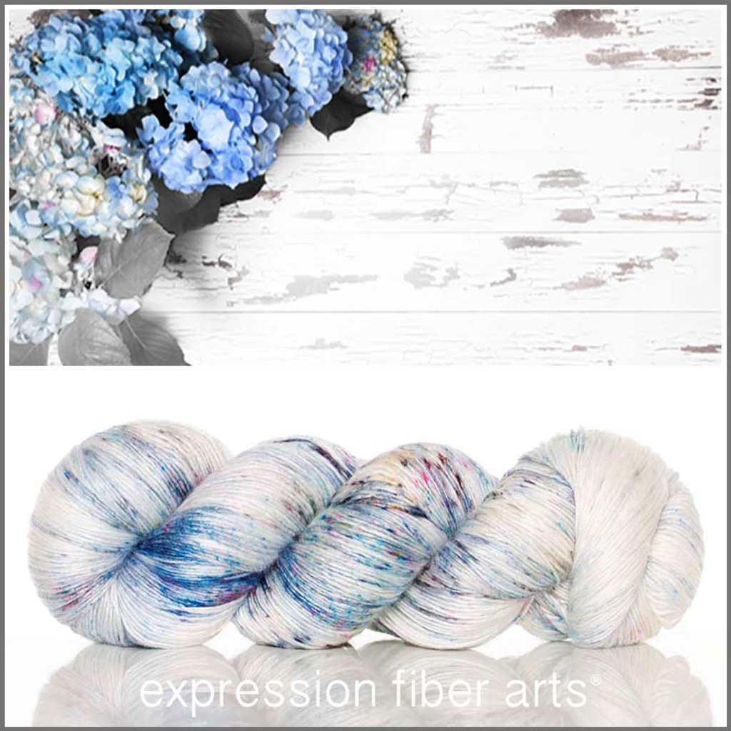 BLUE HYDRANGEAS SUPERWASH MERINO SILK PEARLESCENT FINGERING