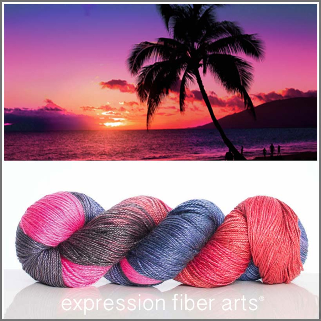 TROPICAL SUNSET 'LUSTER' SUPERWASH MERINO TENCEL SPORT