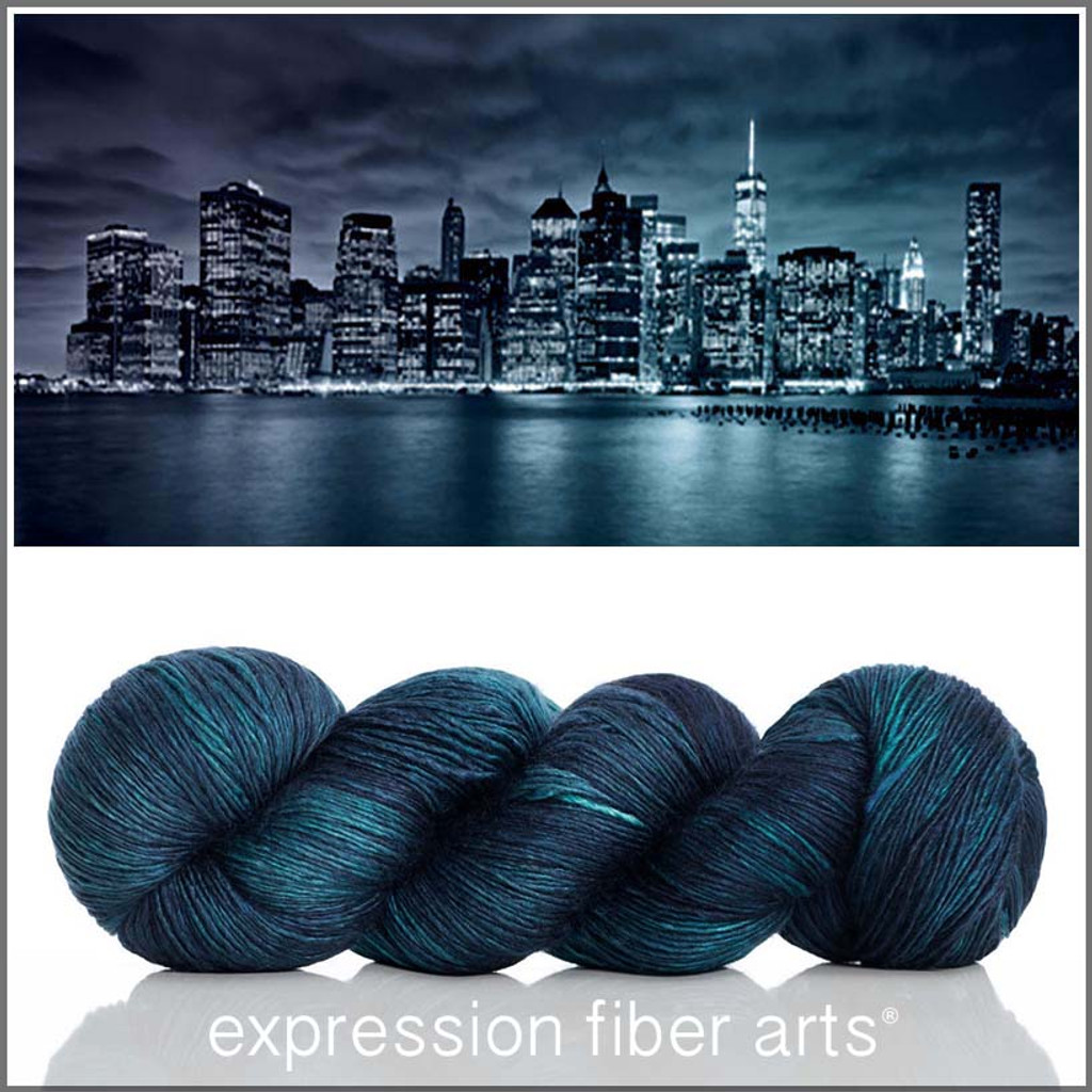 NEW YORK AT NIGHT SUPERWASH MERINO SILK PEARLESCENT FINGERING