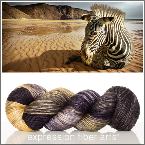 BEACH ZEBRA SUPERWASH MERINO SILK PEARLESCENT WORSTED