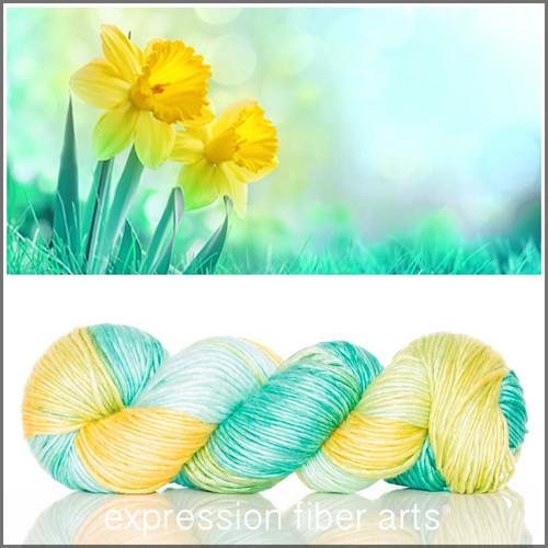 MARCH DAFFODIL MERINO SILK PEARLESCENT WORSTED + Yarn Tote