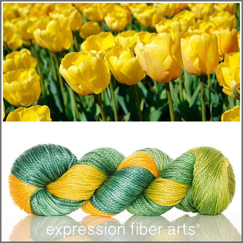 YELLOW TULIP 'LUSTER' SUPERWASH MERINO TENCEL WORSTED