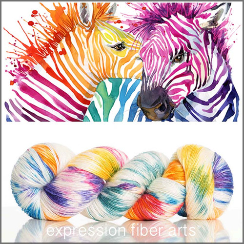 Pre-Order HAPPY ZEBRAS SUPERWASH MERINO SILK PEARLESCENT FINGERING