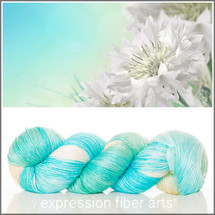 WHITE CORNFLOWERS SUPERWASH MERINO SILK PEARLESCENT FINGERING