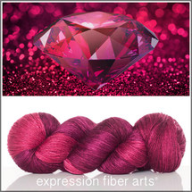 Pre-Order JULY RUBY Limited Edition MERINO SILK PEARLESCENT FINGERING + Free Stitch Marker