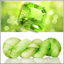 Pre-Order AUGUST PERIDOT Limited Edition MERINO SILK PEARLESCENT FINGERING + Free Stitch Marker