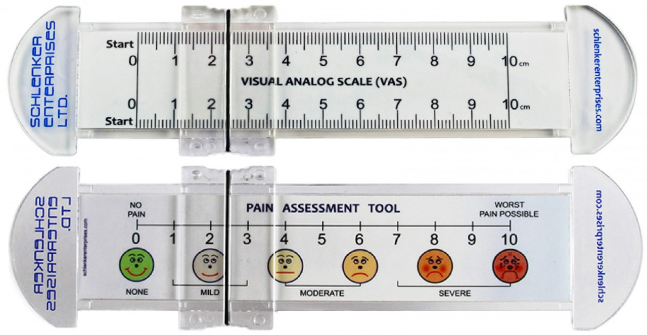 Vas pain scale rulers 0 10cm with clear pvc slider whittam precision