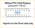 Customised VAS Rulers made of white PVC reading 0-100mm with your LOGO/Text in full colour