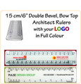 "Customised 15 cm/6"" Bow Top, Double Bevel Architect Rulers with Your LOGO/Text in Full Colour"