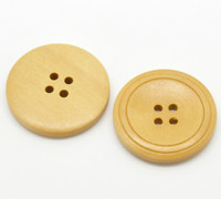 Round Wood Button Four Hole Natural Colour With Ridges - 30mm