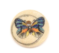 Butterfly Painted Wood Button Two Hole Natural Wood Colour 15mm