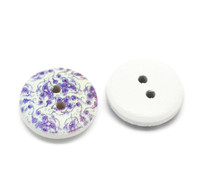 White Painted Floral Wood Button Two Hole (Design no.5) 15mm