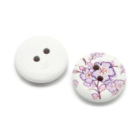 White Painted Floral Wood Button Two Hole (Design no.6) 15mm
