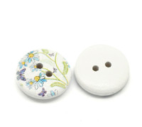 White Painted Floral Wood Button Two Hole (Design no.8) 15mm