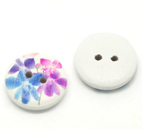 White Painted Floral Wood Button Two Hole (Design no.10) 15mm