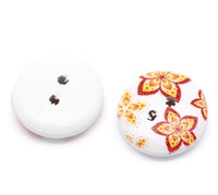 White Painted Floral Wood Button Two Hole (Design no.14) 15mm
