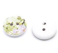 White Painted Floral Wood Button Two Hole (Design no.15) 15mm
