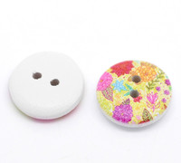 White Painted Floral Wood Button Two Hole (Design no.16) 15mm