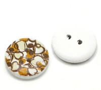 White Painted Wood Button Two Hole - Brown Retro Hearts- 15mm