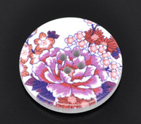 White Wood Painted Button Floral (Design No.3) Four Hole 30mm