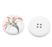 White Wood Painted Button Floral (Design No.7) Four Hole 30mm
