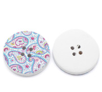 White Wood Painted Button Floral (Design No.9) Four Hole 30mm