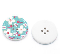 White Wood Painted Button Floral (Design No.11) Four Hole 30mm