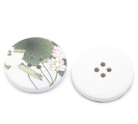 White Wood Painted Button Floral (Design No.12) Four Hole 30mm
