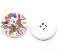 White Wood Painted Button Floral (Design No.13) Four Hole 30mm