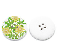 White Wood Painted Button Floral (Design No.15) Four Hole 30mm