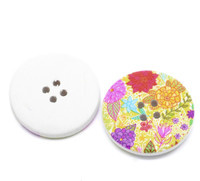 White Wood Painted Button Floral (Design No.16) Four Hole 30mm