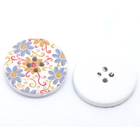 White Wood Painted Button Floral (Design No. 18) Four Hole 30mm