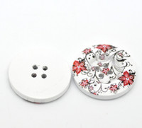 White Wood Painted Button Floral (Design No.19) Four Hole 30mm