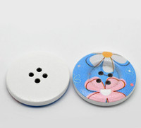 White Wood Painted Button Floral (Design No.21) Four Hole 30mm