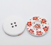 White Wood Painted Button Floral (Design No.28) Four Hole 30mm