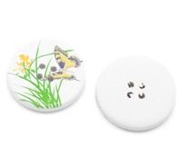 White Wood Painted Button Floral Butterfly Four Hole 30mm