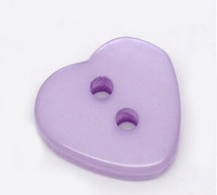 Heart Shaped Resin Buttons 12mm Purple