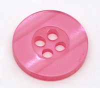 Round Plastic Buttons Four Hole 15mm Translucent Hot Pink