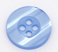 Round Plastic Buttons Four Hole 15mm Translucent Blue