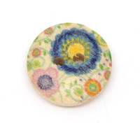 Floral (Design no.1) Painted Wood Button Two Hole Natural Wood Colour 15mm
