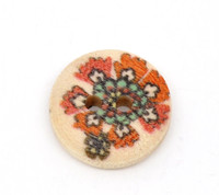 Floral (Design no.5) Painted Wood Button Two Hole Natural Wood Colour 15mm