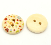 Floral (Design no.11) Painted Wood Button Two Hole Natural Wood Colour 15mm