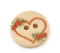 Floral Heart Painted Wood Button Two Hole Natural Wood Colour 15mm