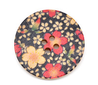 Floral (Design 3) Painted Wood Button Four Hole Natural Wood Colour 30mm