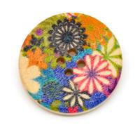 Floral (Design 4) Painted Wood Button Four Hole Natural Wood Colour 30mm